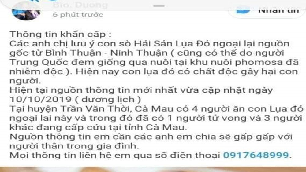 Xử phạt, người đăng thông tin, ăn sò lụa đỏ chết người, Trần Minh Dương, Facebook Keo Dán Vá Bạt