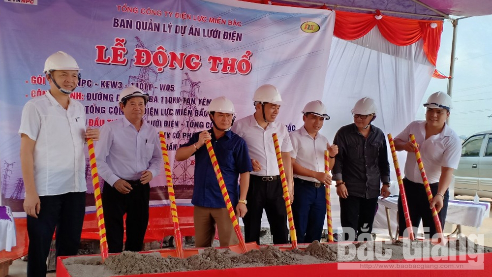 Khởi công, xây dựng đường dây và TBA 110kV, Tân Yên xây dựng đường dây TBA 110kV, Bắc Giang