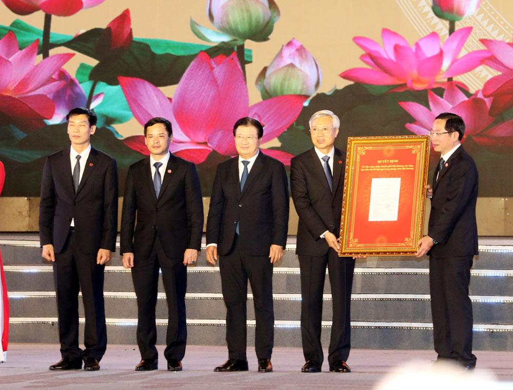Chủ tịch Quốc hội Nguyễn Thị Kim Ngân, Lễ công bố quyết định, công nhận thành phố Hải Dương, đô thị loại I
