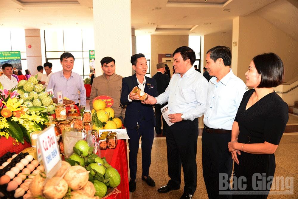 Các đại biểu thăm gian trưng bày sản phẩm nông nghiệp tiêu biểu của các huyện, TP.