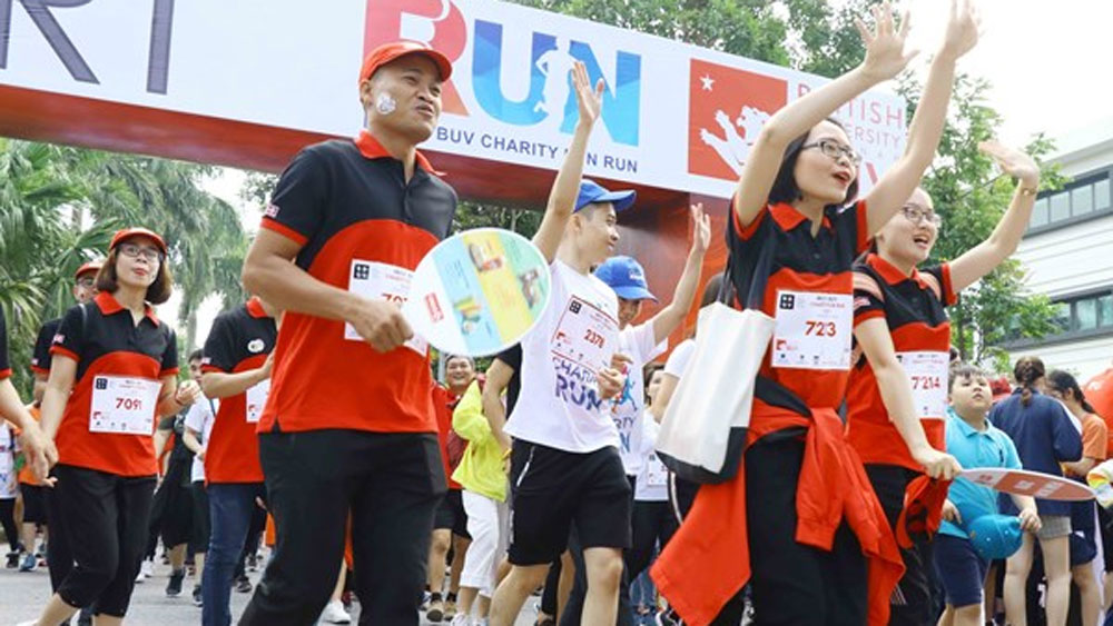 Charity Fun Run, 8,000 runners, fifth edition, Hung Yen province, British Business Group Vietnam, charity policies