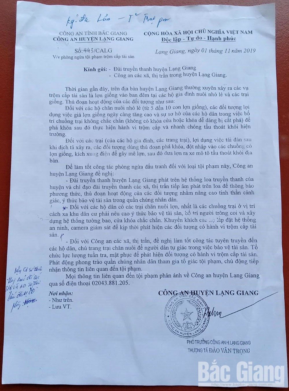 Trộm cắp tài sản, trộm cắp lợn, Công an huyện Lạng Giang