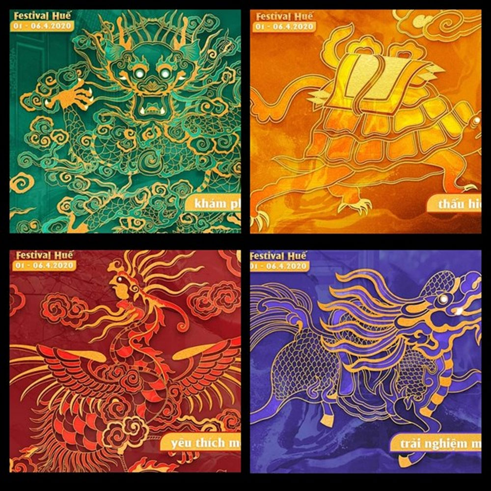 Four sacred animals, Hue Festival 2020, royal art, poetry and modernity, diverse performances, unique Hue festival
