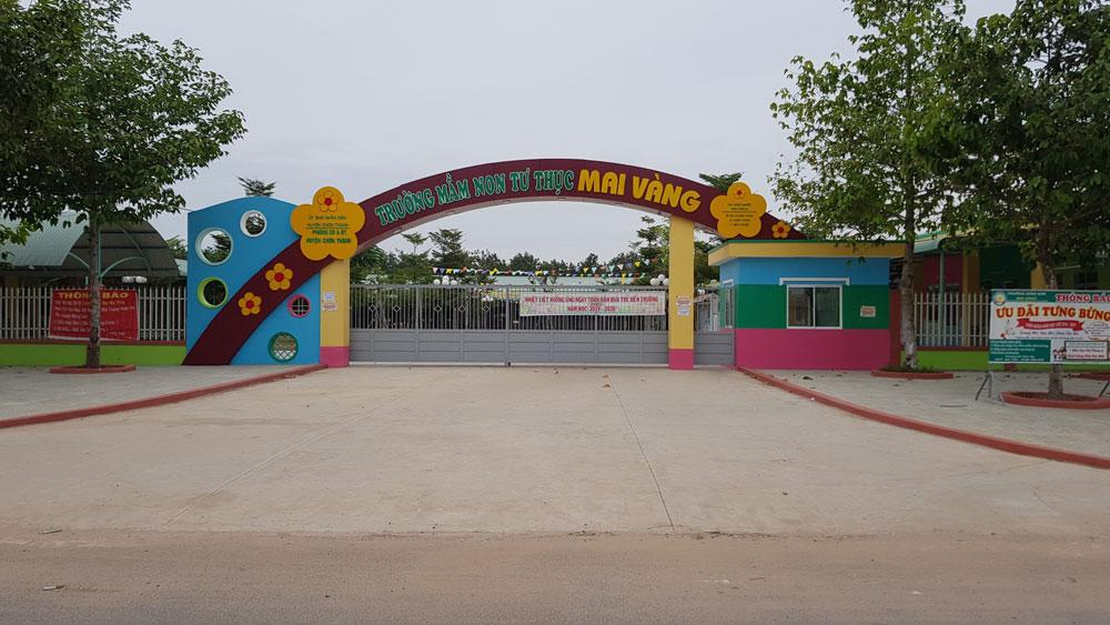 Bình Phước, đình chỉ, trường mầm non, clip giáo viên dùng vật nhọn đâm trẻ, Trường Mầm non tư thục Mai Vàng