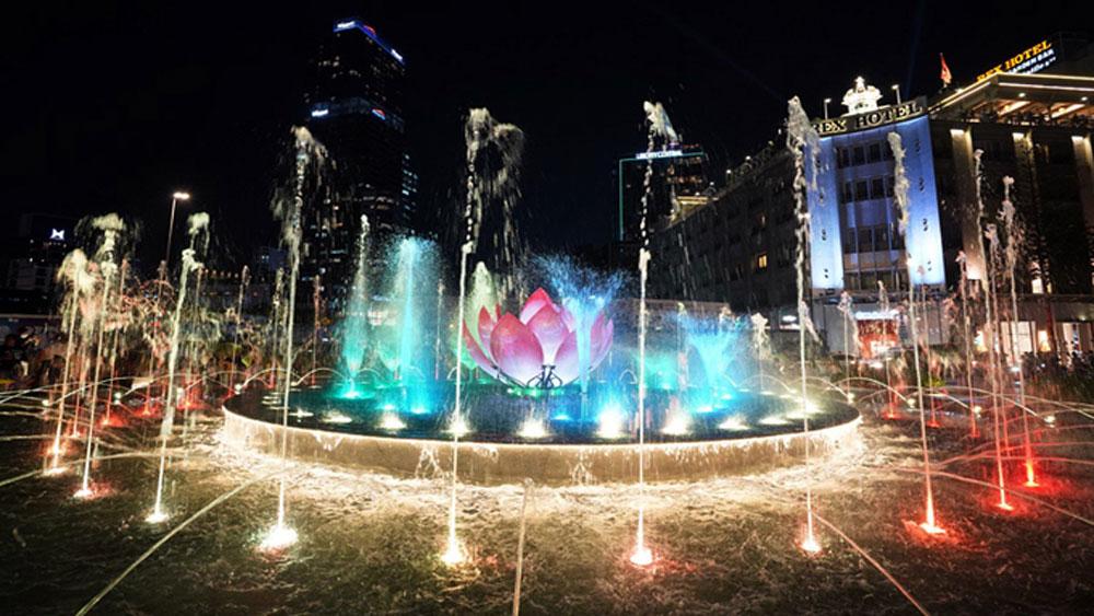 walking street, water-music show, music and art program,  major street festivals, amazing flower street