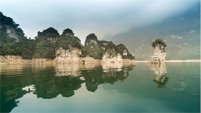 A Ha Long Bay in northern Vietnam mountains