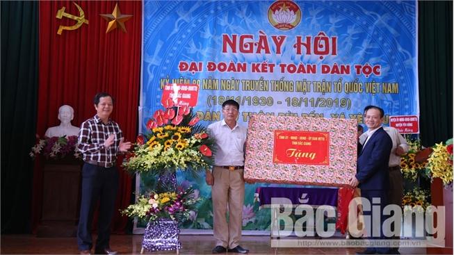 Phó Chủ tịch Thường trực UBND tỉnh Bắc Giang Lại Thanh Sơn dự Ngày hội đoàn kết toàn dân tại huyện Yên Dũng