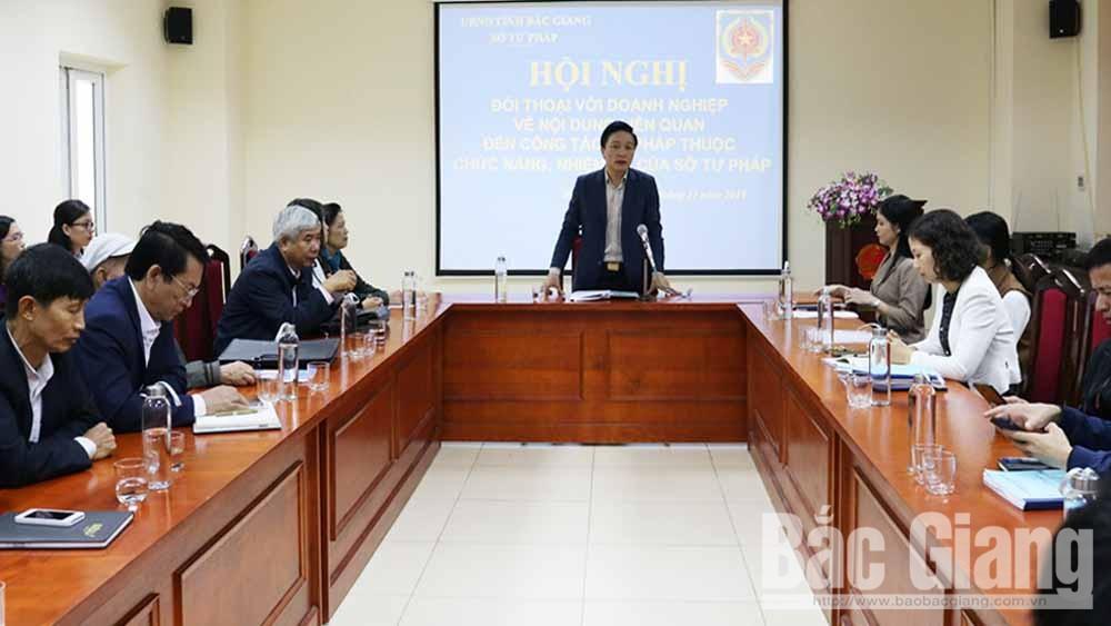 doanh nghiệp, đơn vị, tham gia, đối thoại, về lĩnh vực tư pháp, Bắc Giang, ngân hàng
