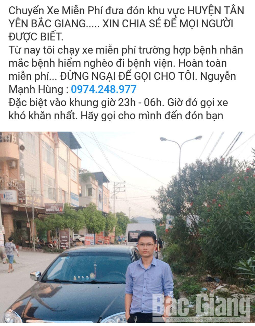 tự thiện; chuyến xe miễn phí; giúp bệnh nhân nghèo; Tân Yên