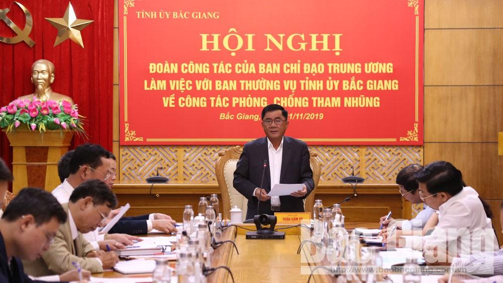 Bắc Giang, kiểm tra, công tác, phòng chống tham nhũng