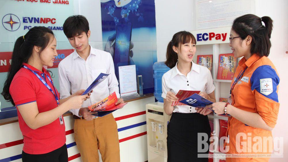 Thu tiền điện qua hệ thống ngân hàng, tiền điện, điện lực, Bắc Giang, tiền mặt