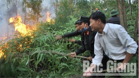 Đám cháy trên dãy Nham Biền (Yên Dũng) tiếp tục lan rộng