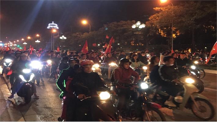Người dân TP Bắc Giang mừng chiến thắng của đội tuyển U22 Việt Nam