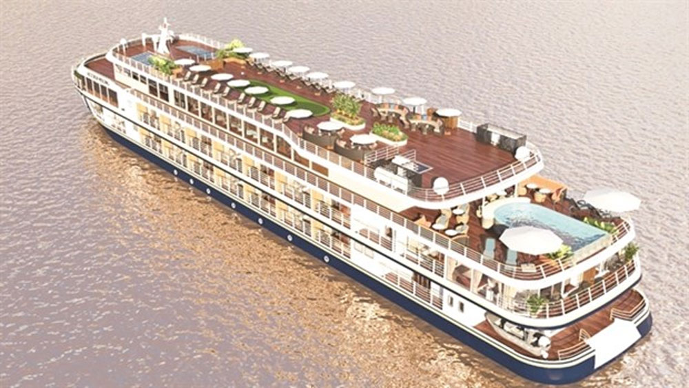Luxury cruise ship, Can Tho-Phnom Penh route, four-star cruise ship, circus performances, traditional Khmer dances, folk music performances