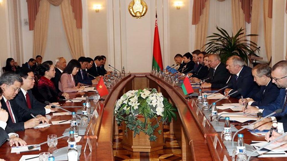 Top legislator, Belarusian Prime Minister, Nguyen Thi Kim Ngan, ongoing official visit,  European country, bilateral cooperative ties