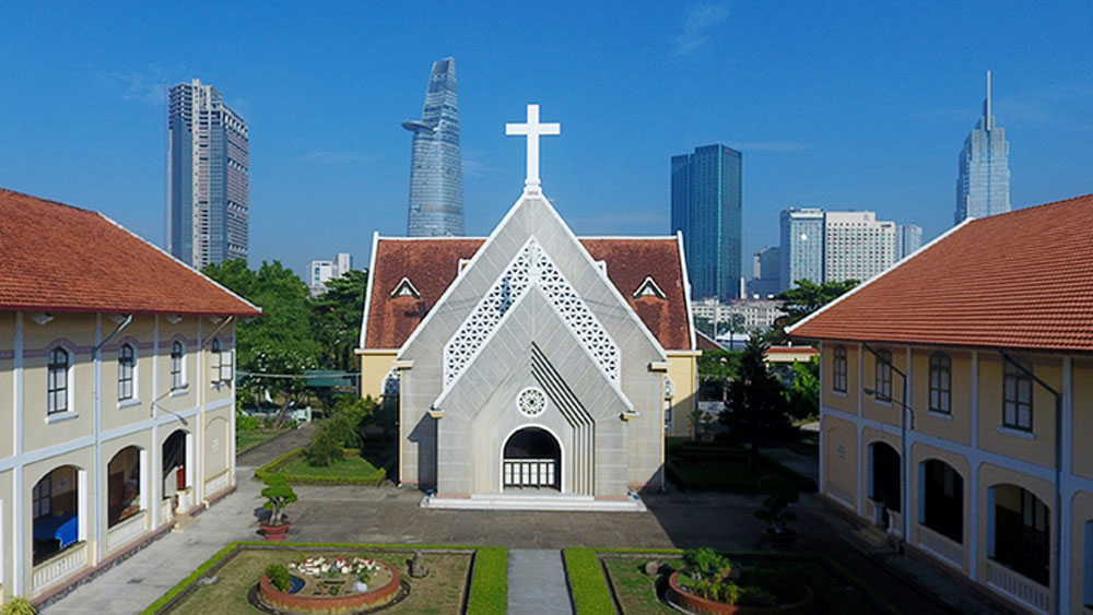 HCMC church, historic relic, Holy Cross Lovers, Thu Thiem area, French church architecture, monument site, Thu Thiem Church