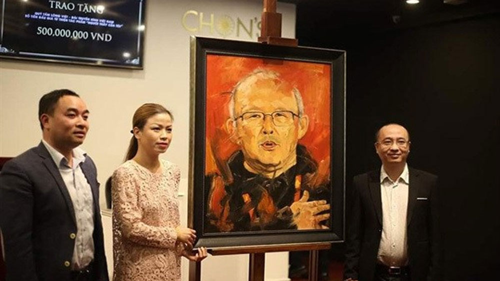 Portrait, coach Park Hang-seo, charity, national football team, Chon Auction House, Nguoi Thay Cua Toi, My Teacher
