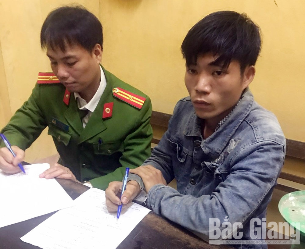 Triệu Văn Phương tại cơ quan công an.