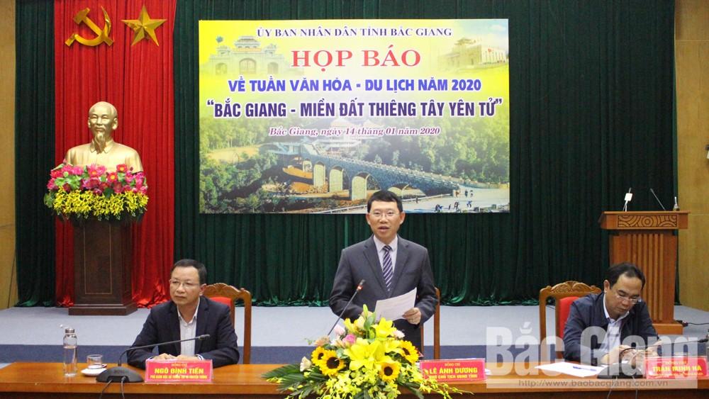 Họp báo, Tuần Văn hóa, Du lịch, Tuần VHDL  2020, Bắc Giang, PCT UBND tỉnh Lê Ánh Dương
