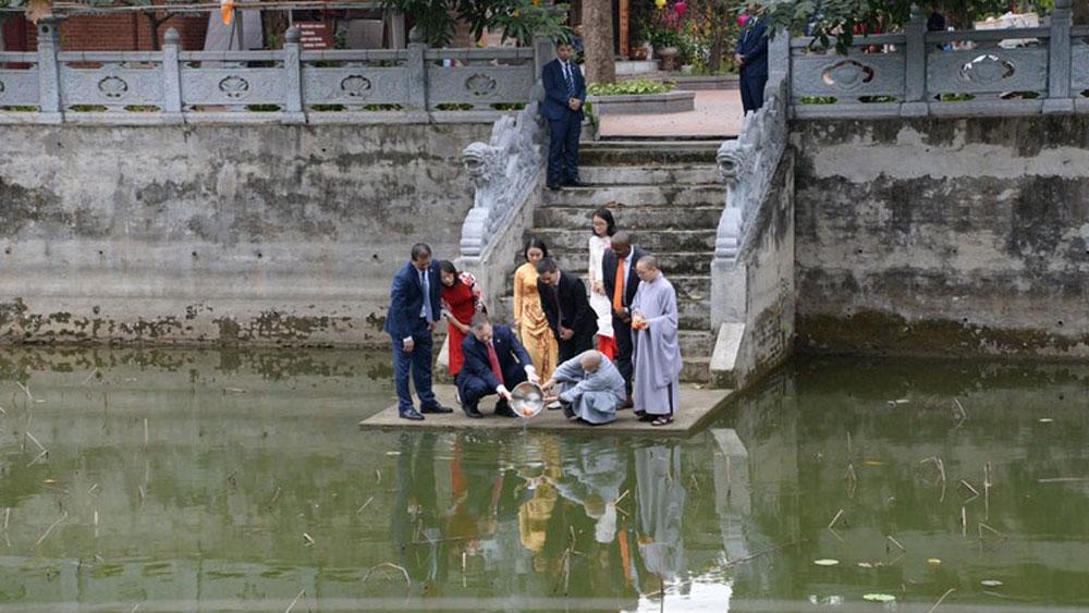 Đại sứ Mỹ thăm chùa Kim Liên, thả cá chép tiễn ông Công ông Táo về trời