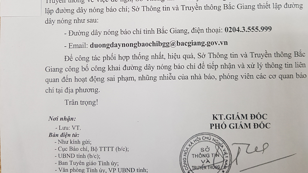 Sở TT và Truyền thông Bắc Giang công bố đường dây nóng tiếp nhận, xử lý sai phạm của nhà báo, phóng viên
