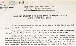 Bức thư khen ngợi hoàn thành đường xe lửa của Bác Hồ: Di sản tư liệu quý
