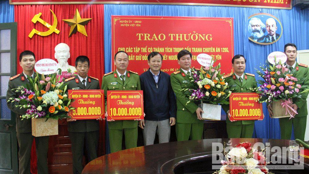 Việt yên, thưởng nóng, bắt giữ tội phạm