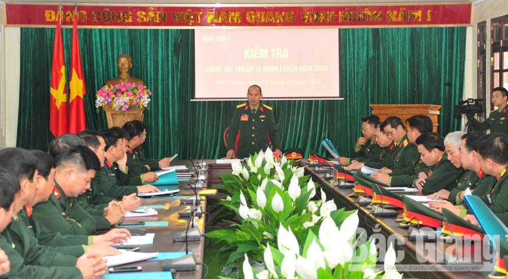 Quân khu 1, Bộ CHQS tỉnh Bắc Giang, huấn luyện, kiểm tra
