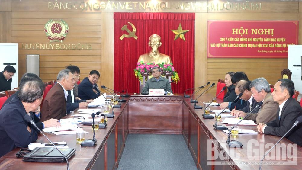 Huyện ủy Sơn Động lấy ý kiến đóng góp vào dự thảo báo cáo chính trị trình Đại hội Đảng bộ huyện