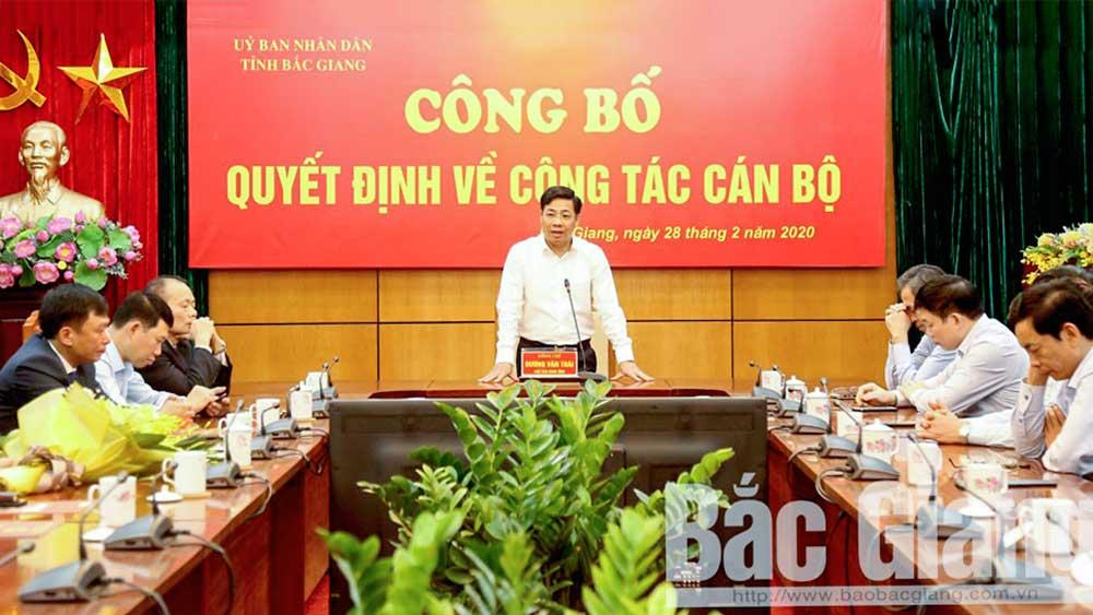 Bắc Giang, Chủ tịch Bắc Giang Dương Văn Thái, công bố quyết định về công tác cán bộ, Nhân sự mới