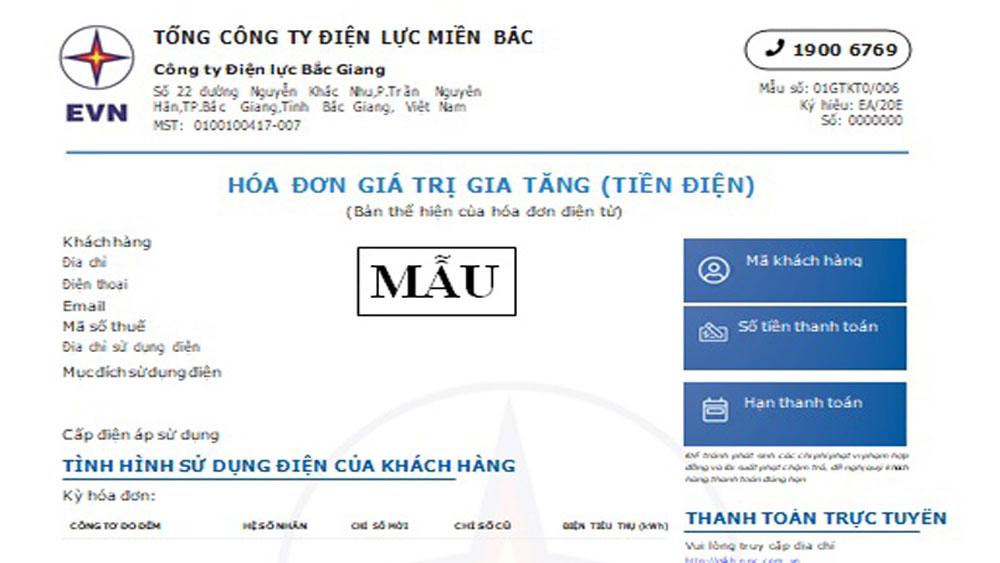 Công ty Điện lực Bắc Giang thông báo về việc áp dụng Hóa đơn điện tử tiền điện mới từ ngày 01 tháng 3 năm 2020