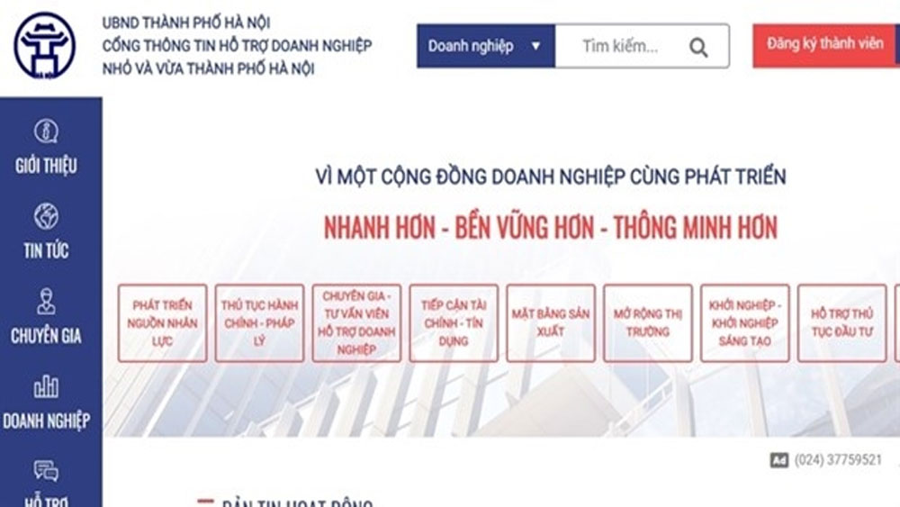 Portal, SMEs, Hanoi, Small and Medium-sized Enterprises, useful information, business activities, technical and capital support