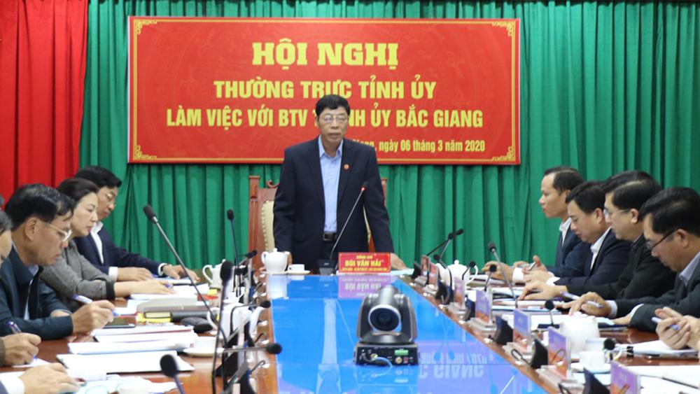 Bí thư Tỉnh ủy Bùi Văn Hải chỉ đạo: TP Bắc Giang phải tập trung chuẩn bị tốt nhân sự đại hội; chú trọng quy hoạch đô thị