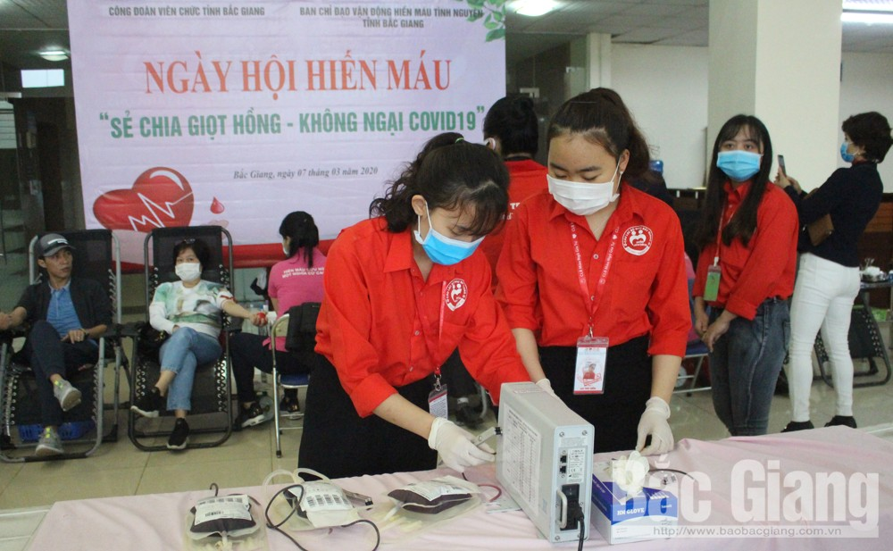 Bac Giang province, provincial civil servant, trade union, blood donation festival, sharing blood, no fear of Covid-19