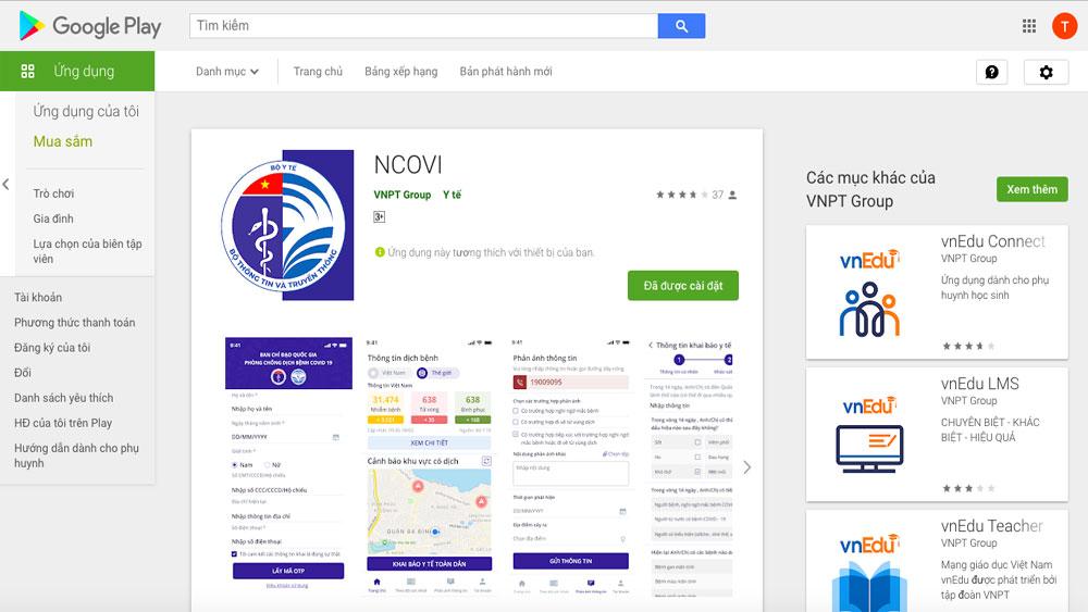 Giao diện của ứng dụng này kho ứng dụng của Google.