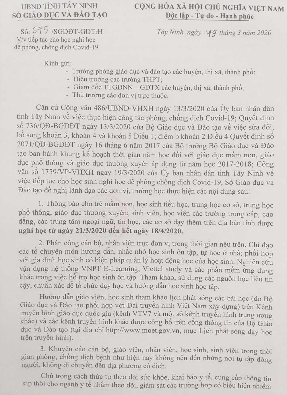 Địa phương đầu tiên, học sinh, nghỉ học tới ngày 18/4, tránh dịch Covid-19, tỉnh Tây Ninh