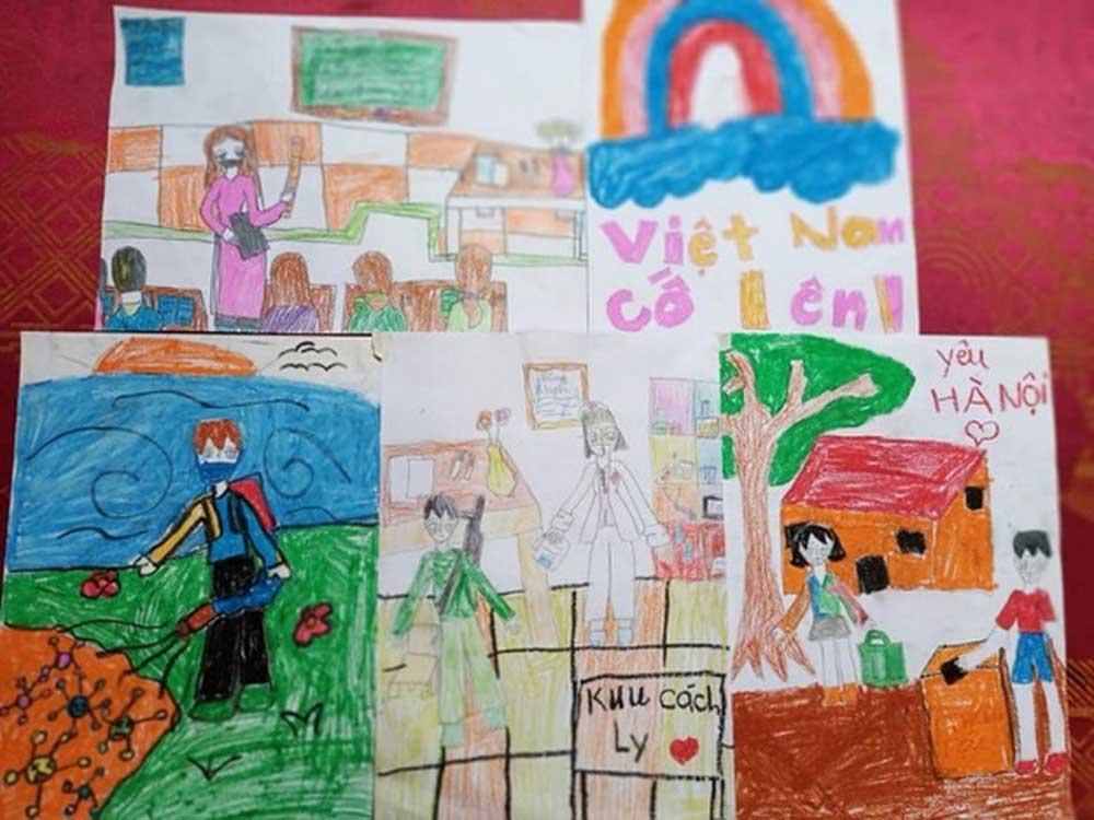 Bé gái lớp 2, viết thư, gửi Phó Thủ tướng, vẽ tranh cổ động, chống Covid-19, bé Nguyễn Nguyệt Anh, ngôn từ của bé sâu sắc