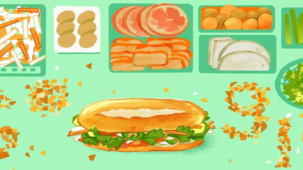 Google Doodle, Vietnamese iconic banh mi, Search engine giant, Vietnamese street-food sandwich,  Oxford English Dictionary