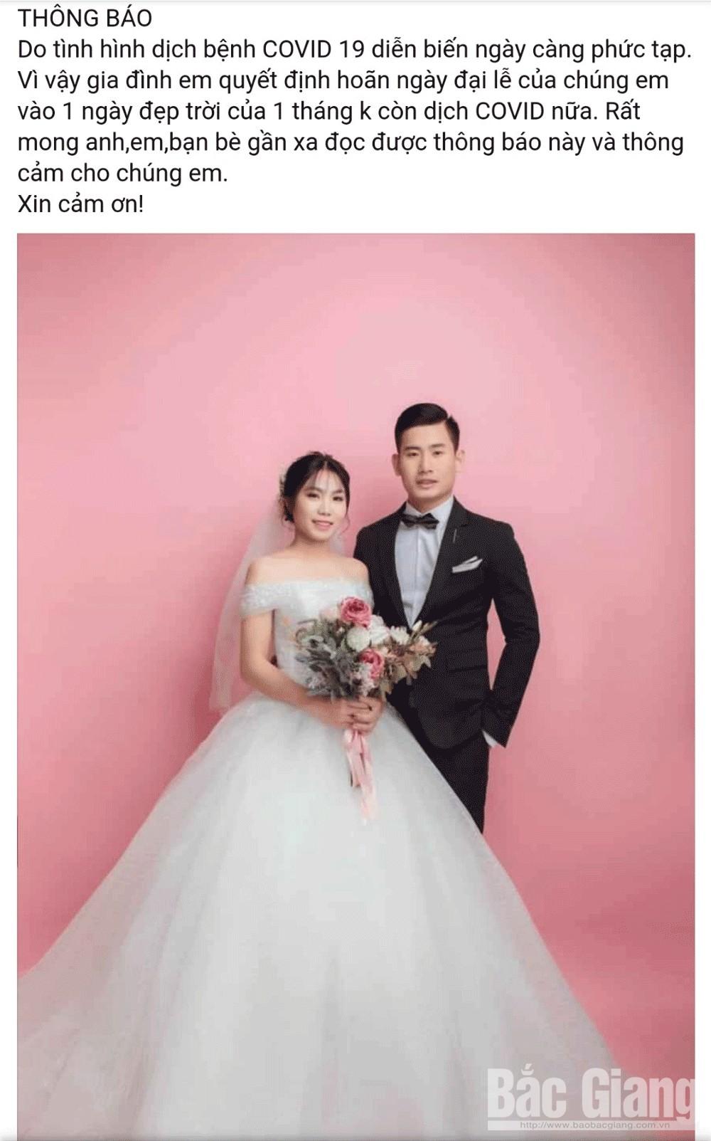 Dịch covid-19, đám cưới, hoãn lịch