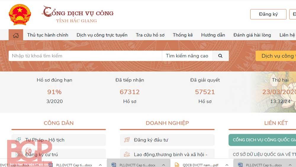 Bac Giang Public Service Portal offers 176 online public services