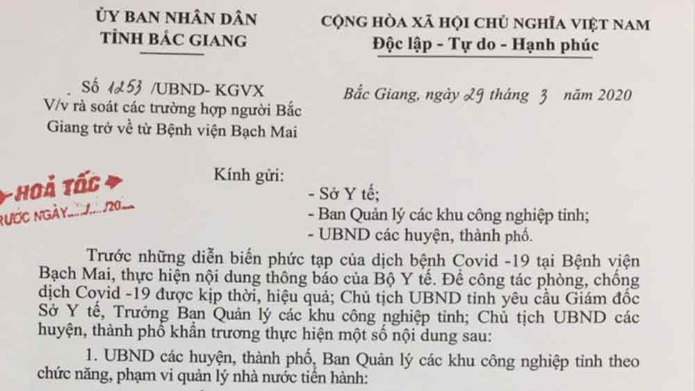 Chủ tịch UBND tỉnh Bắc Giang yêu cầu rà soát khẩn các trường hợp về từ Bệnh viện Bạch Mai