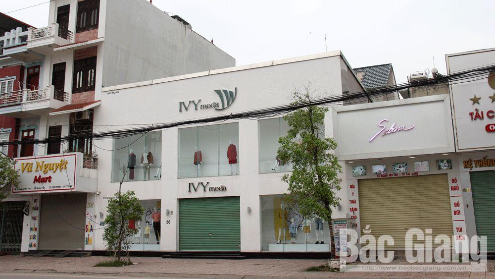 Cửa hàng thời trang IVY moda (đường Hoàng Văn Thụ, TP Bắc Giang) đóng cửa.