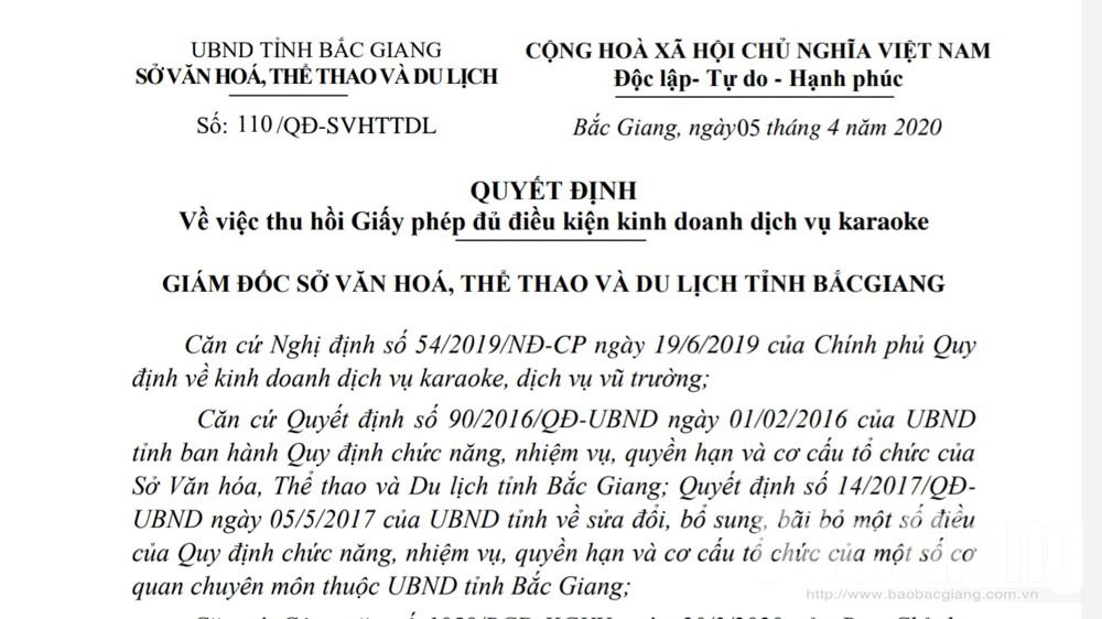 Bắc Giang: Thu hồi giấy phép cơ sở kinh doanh karaoke để khách sử dụng ma túy