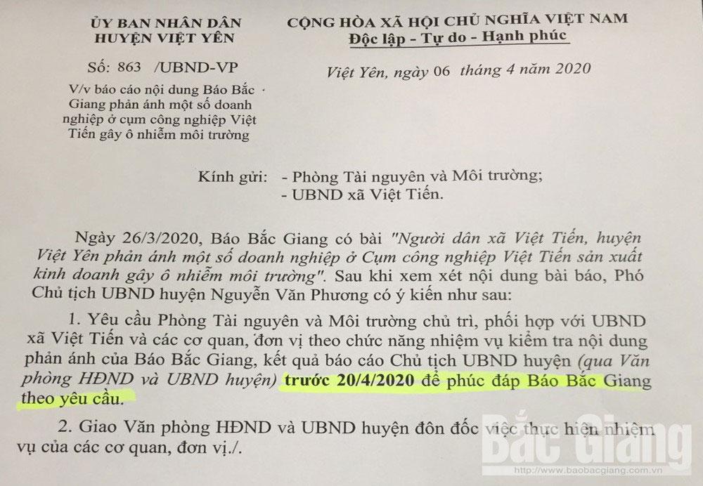 Yêu cầu Phòng Tài nguyên và Môi trường xác minh, làm rõ nội dung, Báo Bắc Giang, phản ánh, ô nhiễm môi trường, Cụm công nghiệp Việt Tiến