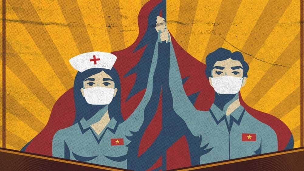 Tranh cổ động chống dịch Covid-19 của Việt Nam lên báo Anh