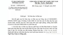 Bắc Giang: Giảm môn thi tuyển sinh vào lớp 10  THPT năm học 2020-2021