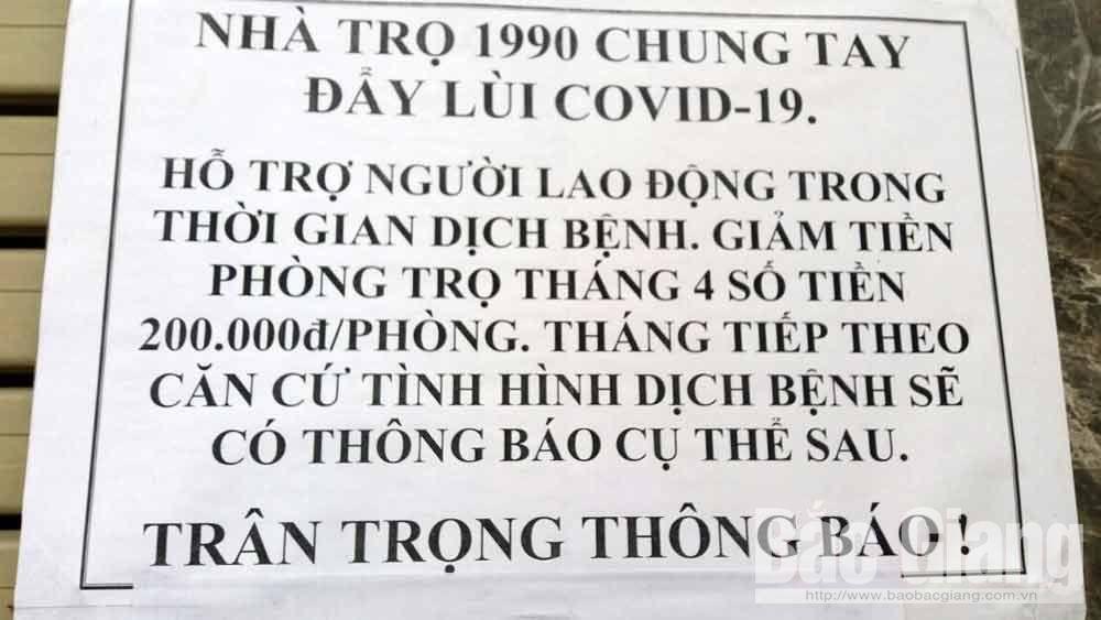 Việt Yên: Nhiều chủ nhà trọ giảm tiền thuê nhà cho công nhân