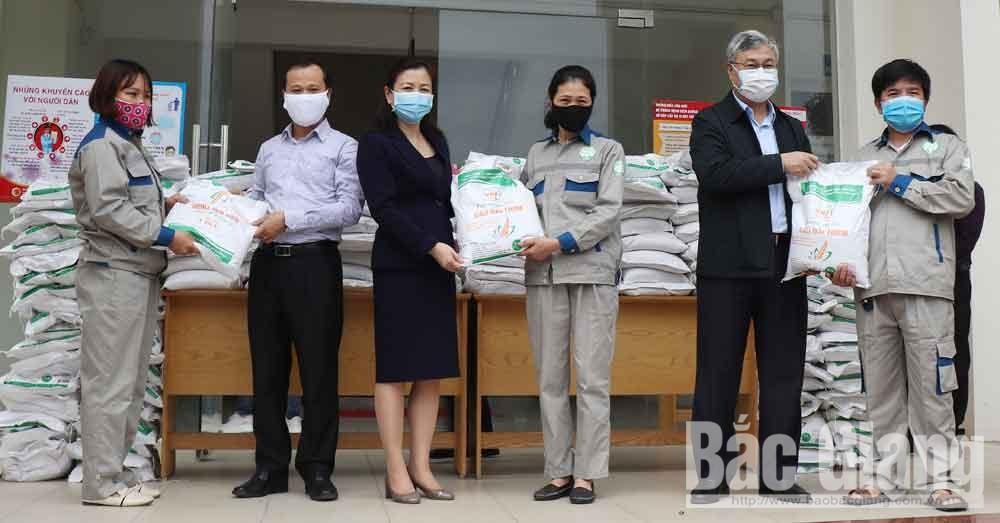 Provincial leader, support rice, urban workers, Bac Giang province, National Assembly Deputies, Covid-19 infection, high risk, protective equipment