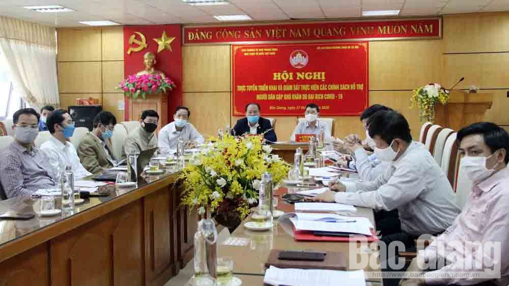 Bac Giang province, support packages, Covid-19 pandemic, online conference, Vietnam Fatherland Front Central Committee, supporting policies