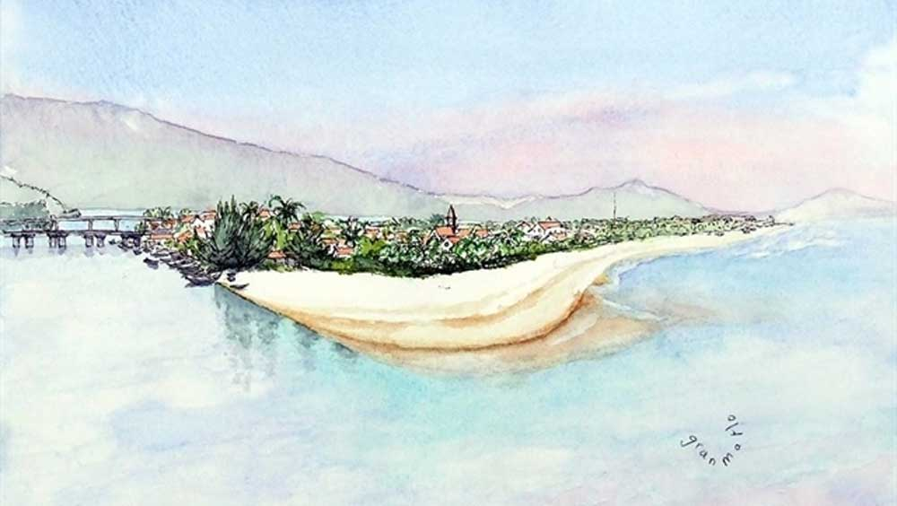 Vietnamese landscapes, French tourist's eyes, watercolours, natural landscapes, beauty of the country, intangible cultural heritage